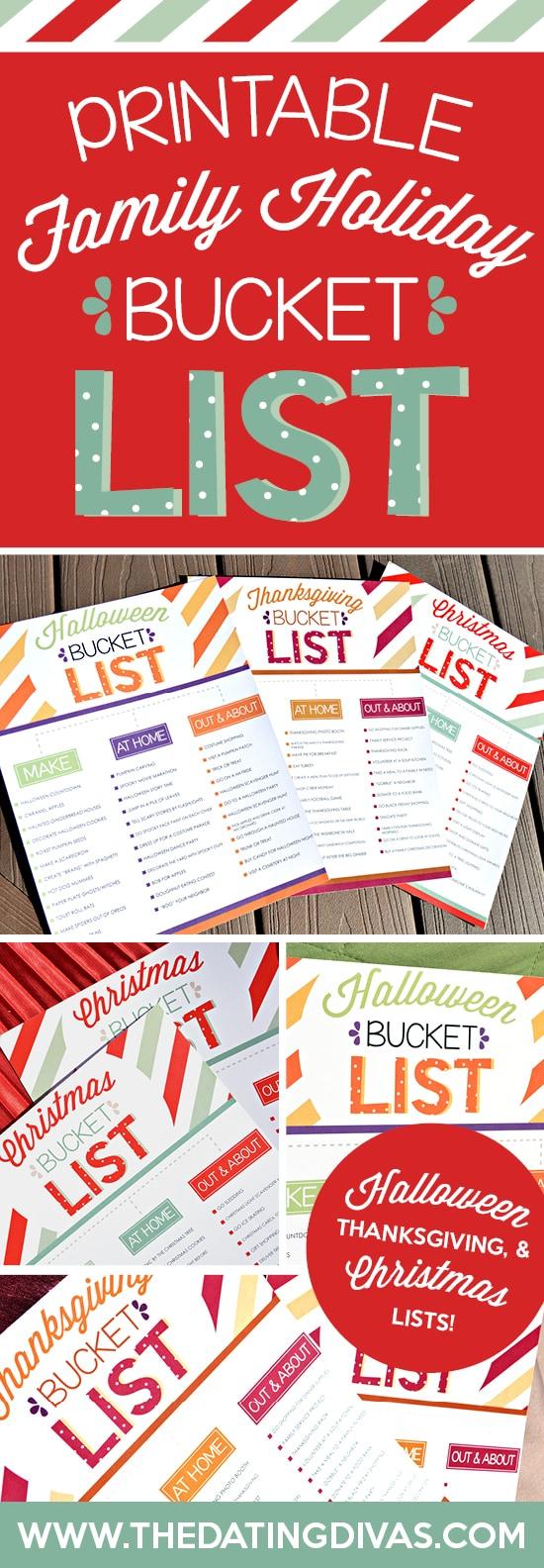 Free Printable Holiday Bucket Lists for Halloween, Thanksgiving, and Christmas!