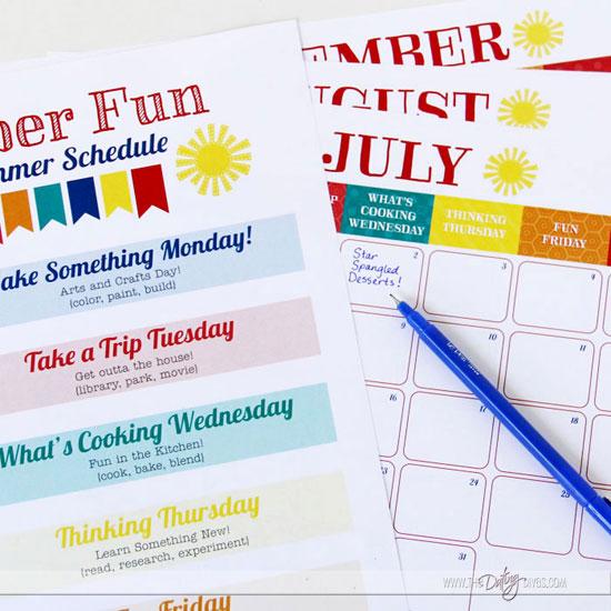 Printable Fun Summer Schedule