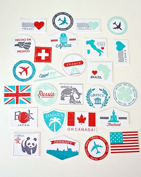Printable Passport Stamps to make your own Passport to Love Kit