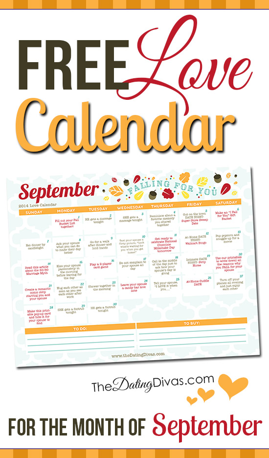 Printable September Love Calendar