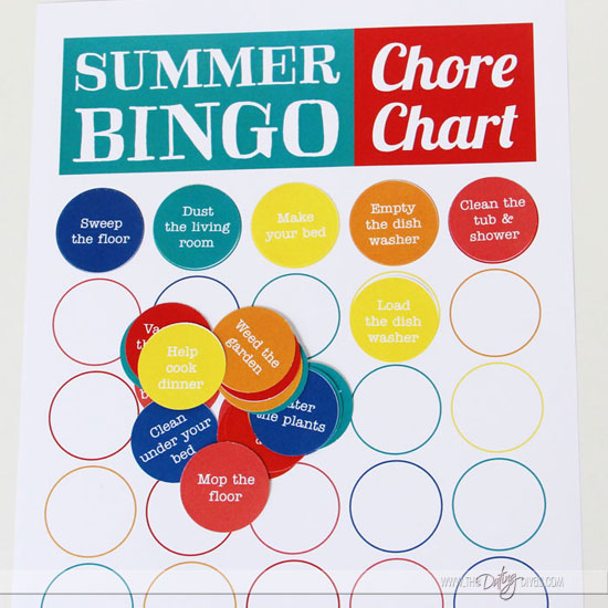 Printable Summer Bingo Chore Chart