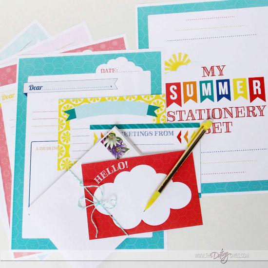 Printable Summer Stationery Set for Kids