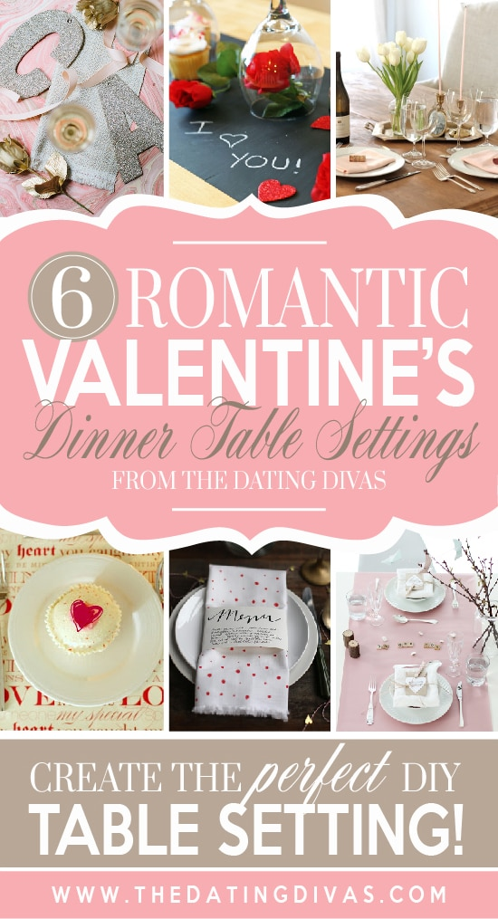 Romantic dinner table settings for Valentine's Day