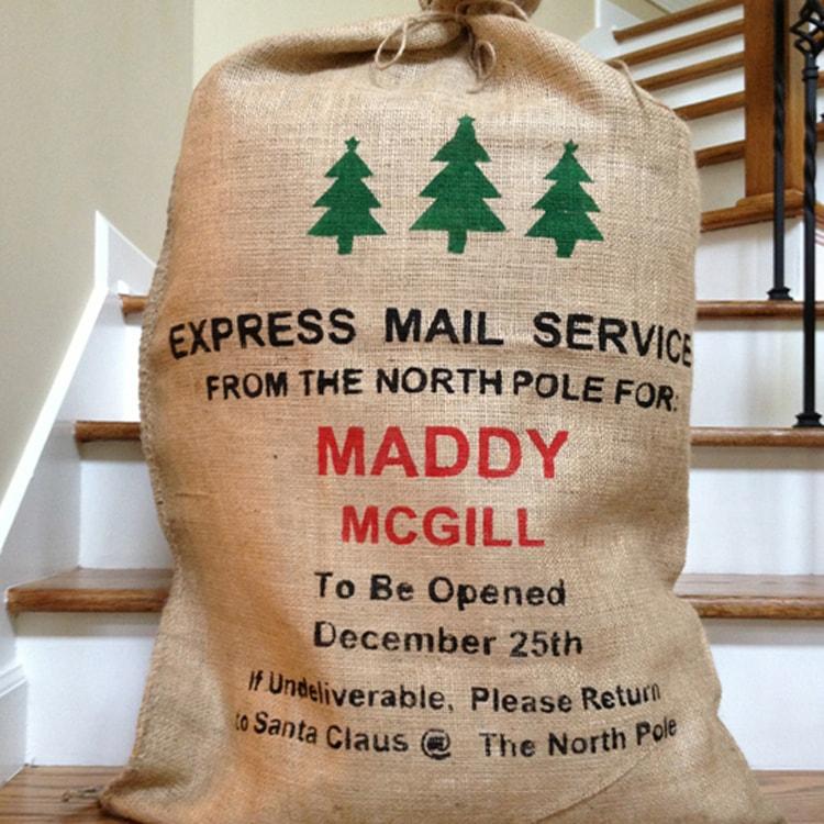 Santa burlap bags