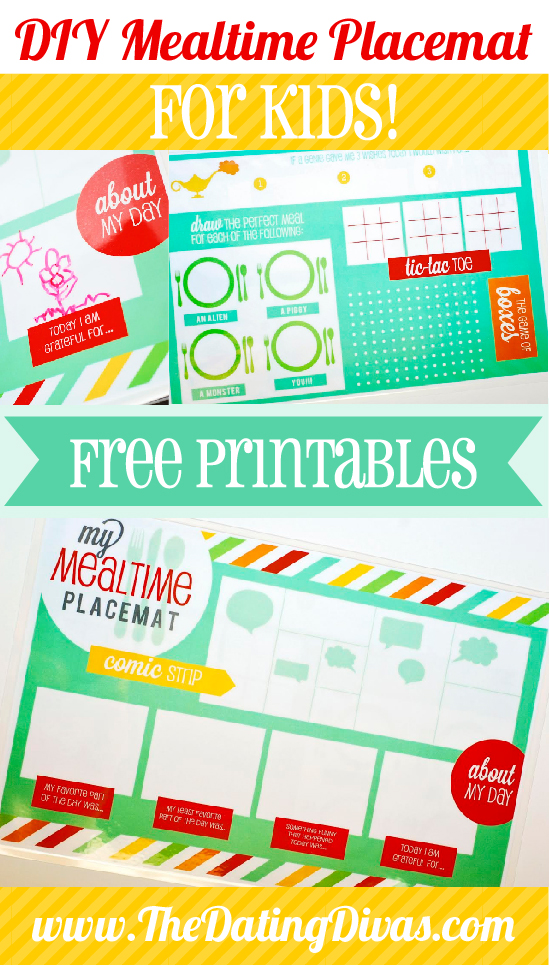 DIY mealtime placemat for kids with free printables