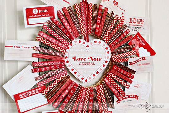 Clothespin Wreath For A Valentine's Day Countdown