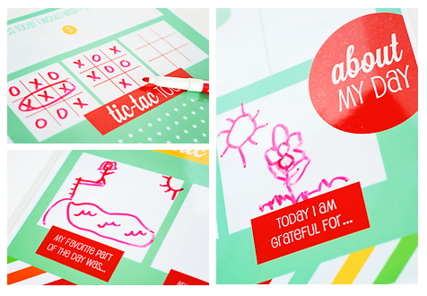DIY mealtime placemat for kids with free printables with activities