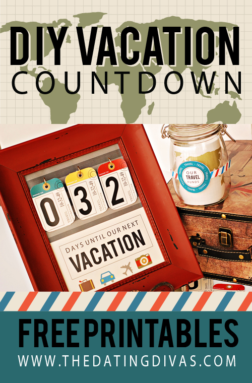 A FREE printable vacation countdown for your family's next big trip! LOVE building up the anticipation to our next big family vacation and there's a BONUS printables to make a matching travel fund jar, too! #TheDatingDivas #VacationCountdown #TravelFundJar