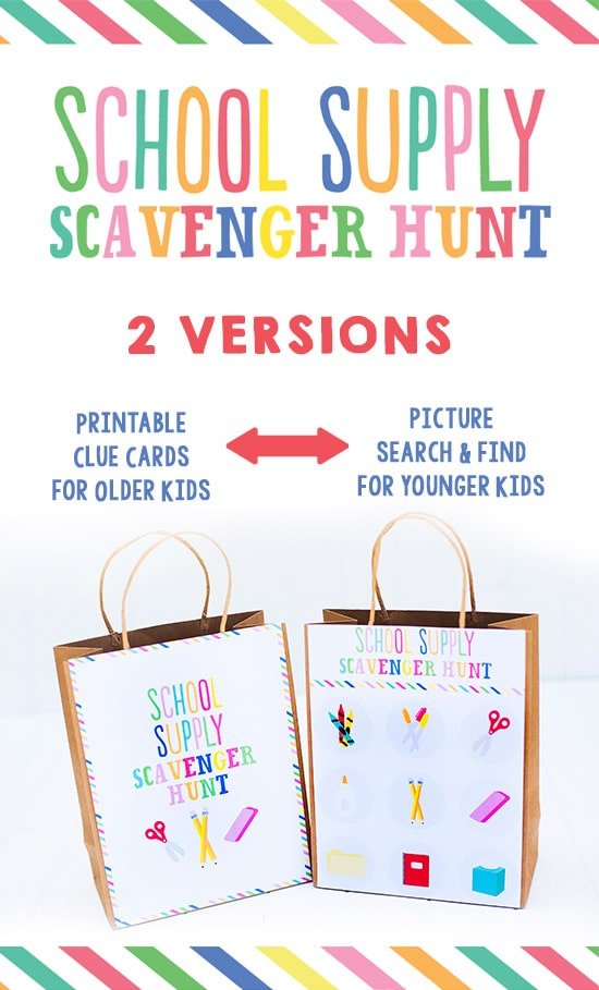 School Supply Scavenger Hunt- 2 versions!  Printable clue cards for older kids AND a picture search and find for younger kids.