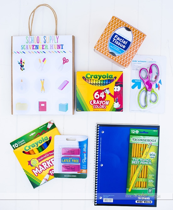 School Supply Scavenger Hunt Supplies