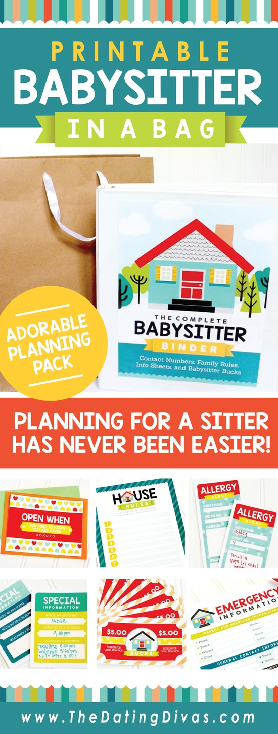 babysitter information sheet and activities kit by the dating divas