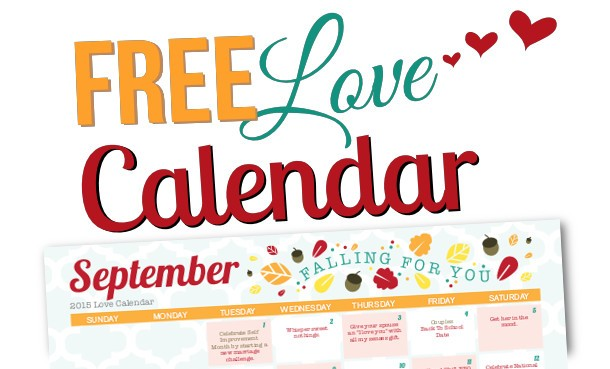 Free Printable September 2015 Love Calendar