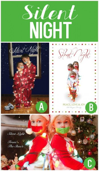 Silent Night Christmas Card Photo Idea