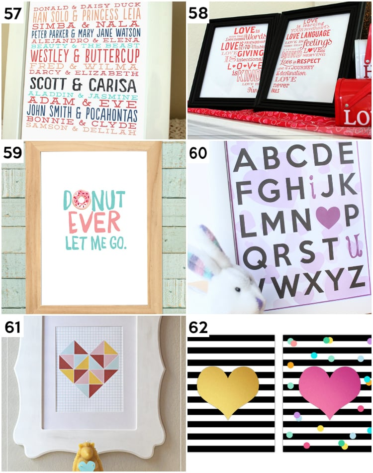 Printable DIY Valentine's Wall Art & other last minute Valentine's Day Ideas