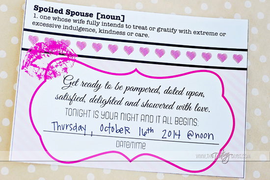 Spoil your spouse invitation to romantic date night