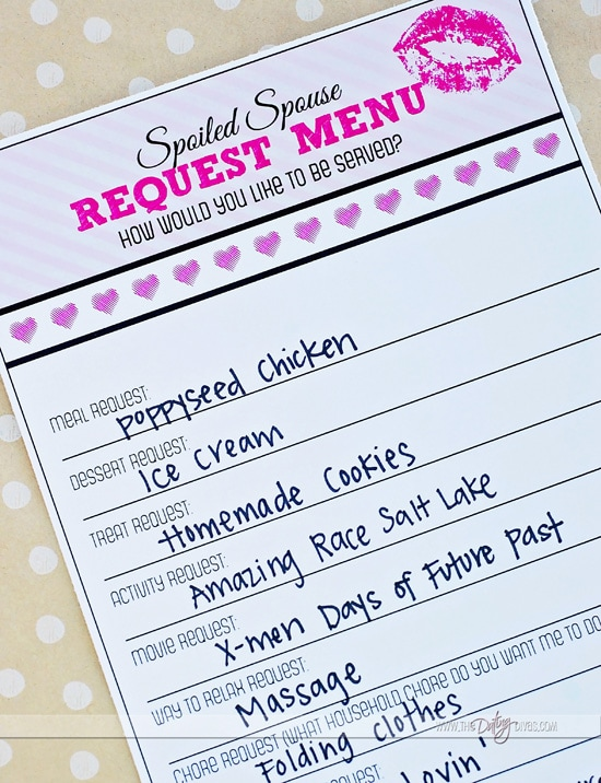Spoil your spouse request menu