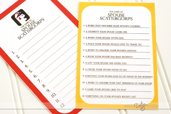 Spouse Scattergories Game Printables