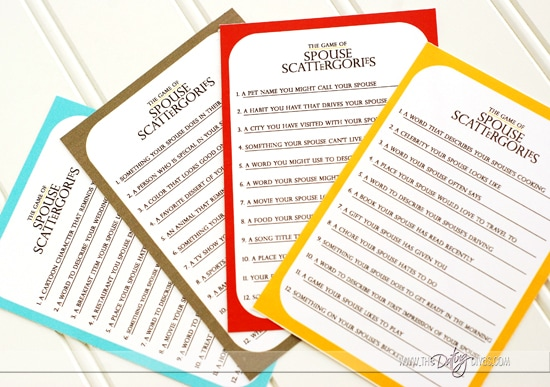 Spouse Scattergories Category Cards Printables