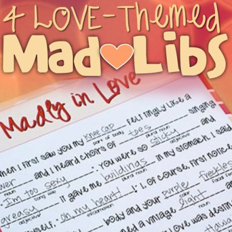 Madly in Love Mad Libs printable game