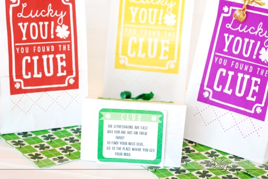 St. Patrick's Day Scavenger Hunt Bags with Clue