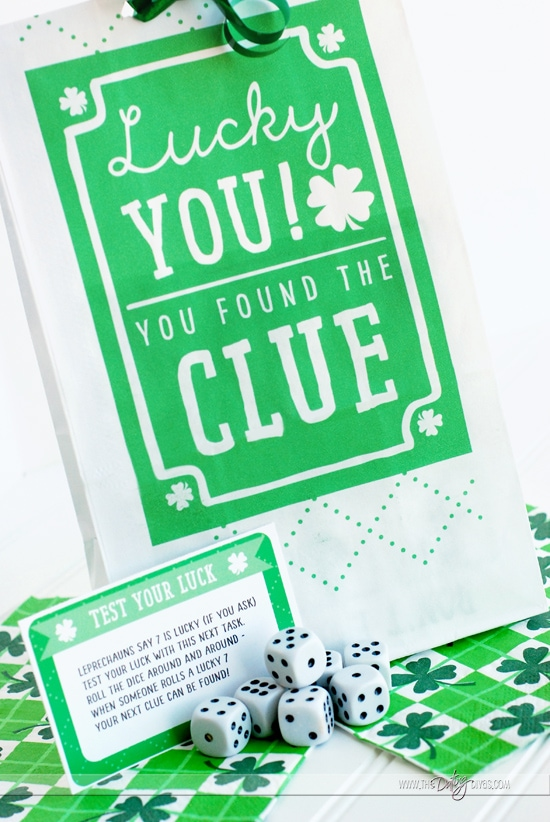 St. Patrick's Day Scavenger Hunt Clue Bag with Game