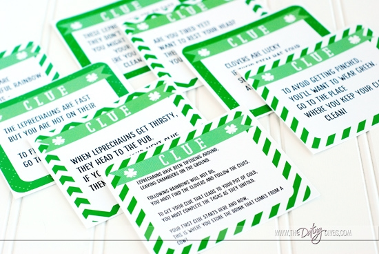 St. Patrick's Day Scavenger Hunt Clue Printables