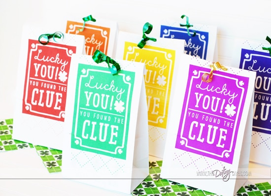 St. Patrick's Day Scavenger Hunt Colorful Clue Bags