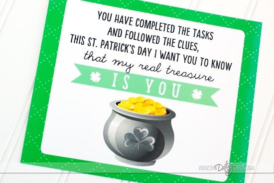 St. Patrick's Day Scavenger Hunt Final Clue Pot of Gold