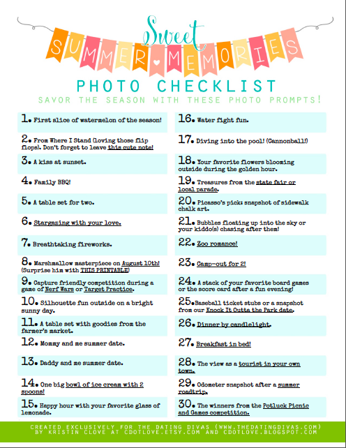 Summer Memories Photography Bucket List