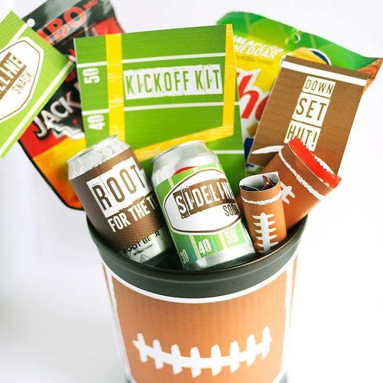 Super Bowl Basket- Free Printables for a football themed gift basket for him