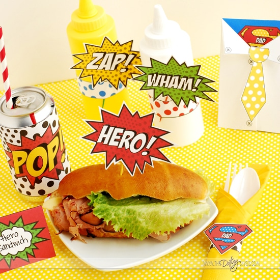 Father's Day Super Hero Lunch Free Printables