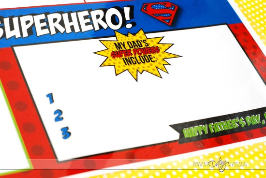 Father's Day Super Hero Lunch Placemat Activities