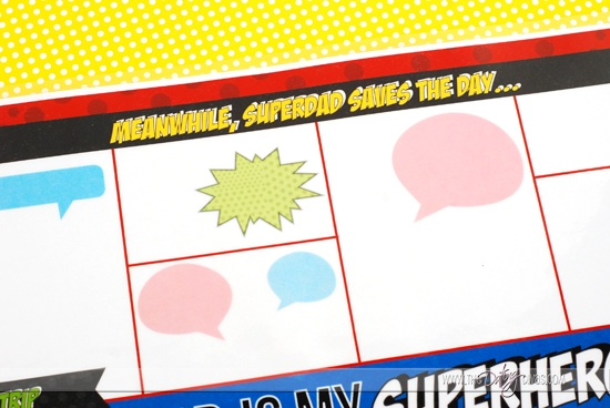 Father's Day Superhero Party Placemat Comic Strips
