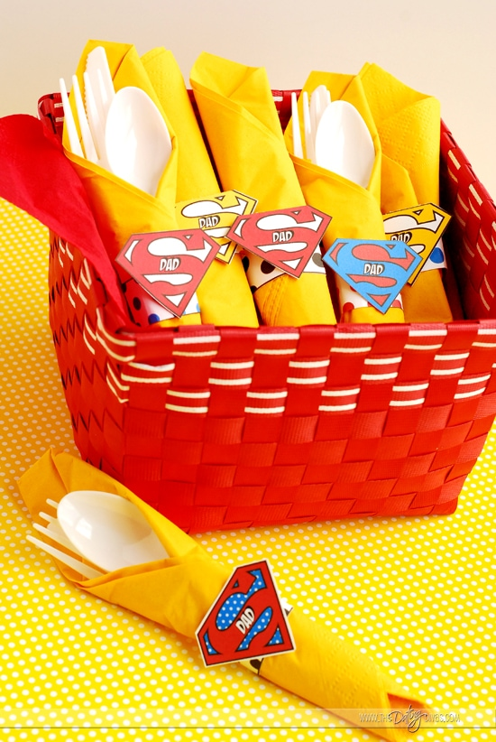 Father's Day Super Hero Lunch Napkin Rings