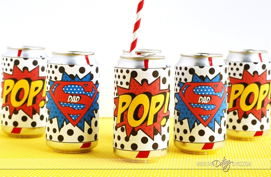 Father's Day Superhero Party Soda Covers