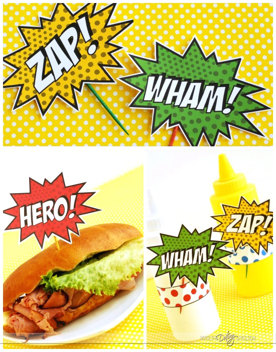 Father's Day Super Hero Lunch Treat Toppers