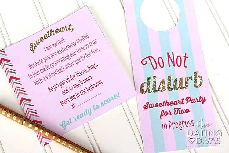 Sweetheart Bedroom Party Invite and Door Hanger