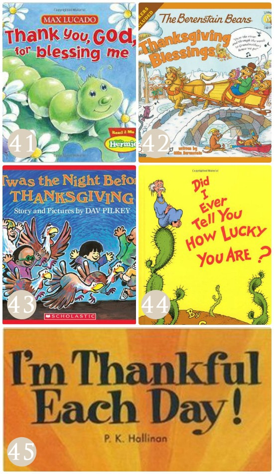Books that emphasize the idea of gratitude.