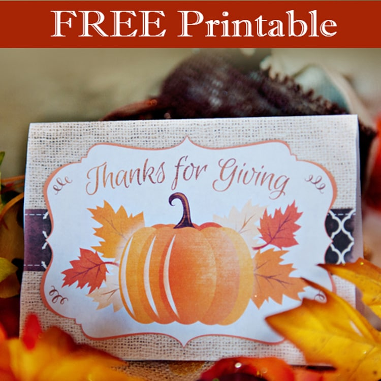 Thanks for Giving printable card