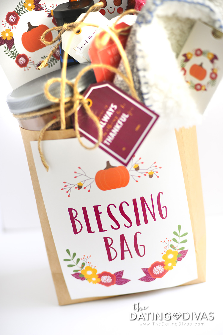 Free Printables to make a Thanksgiving Blessing Bag for a friend or family in need!