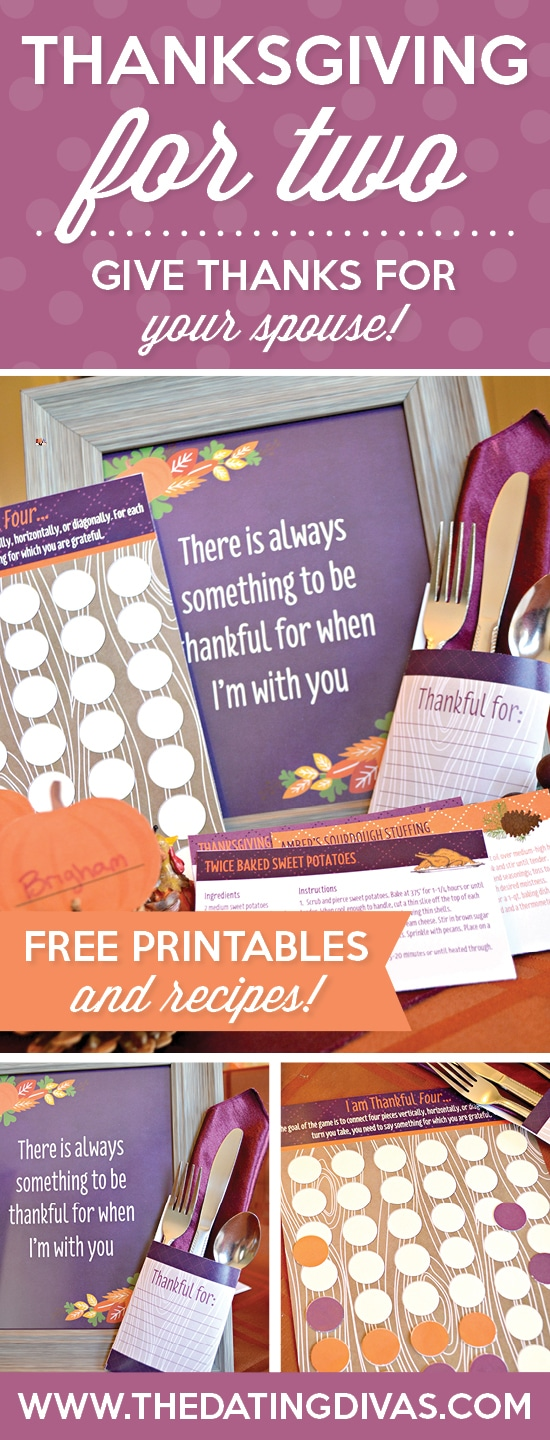 A thanksgiving meal for two! Dress it up with these adorable Free Printables!