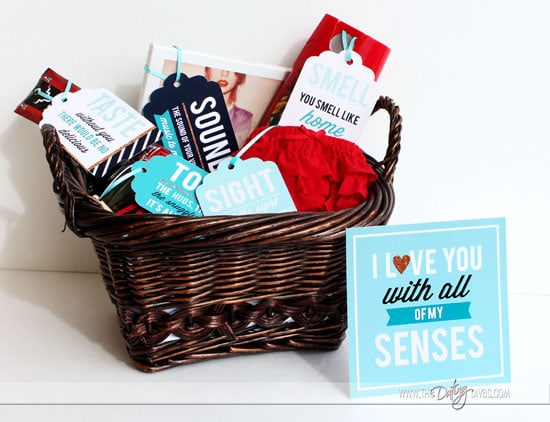 Five Senses Gift Basket with Printables for a Husband or Wife