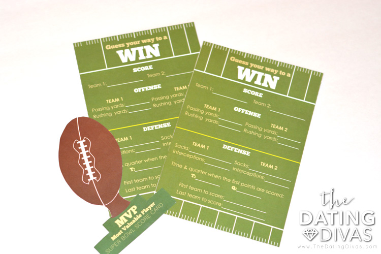 Adorable score card and award for the PERFECT super bowl date!
