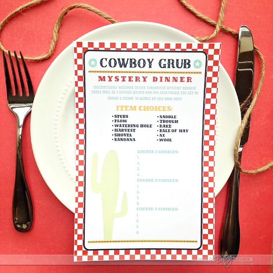 Cowboy mystery dinner for The Longest Ride Date Night.