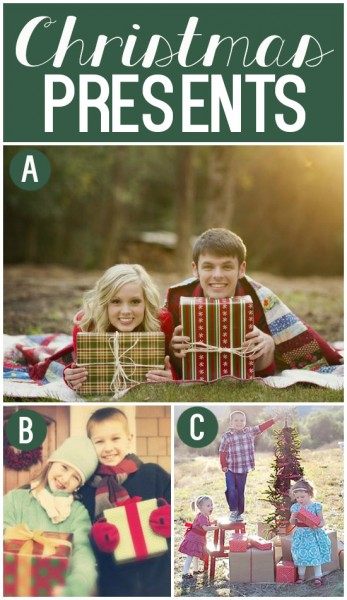 Use Christmas presents as fun holiday photo props