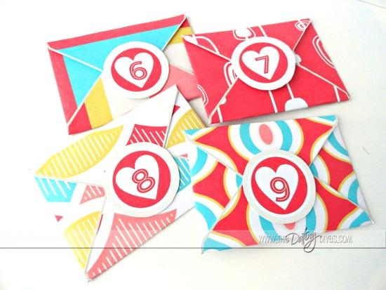 Numbered Envelopes for Valentine's Love Notes
