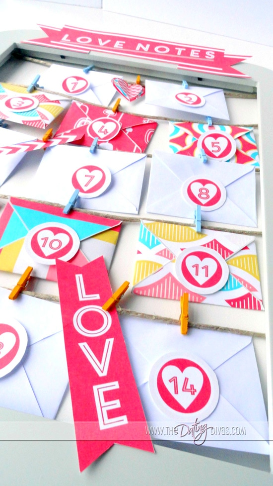 Valentines Advent Calendar Love Notes and Embellishments