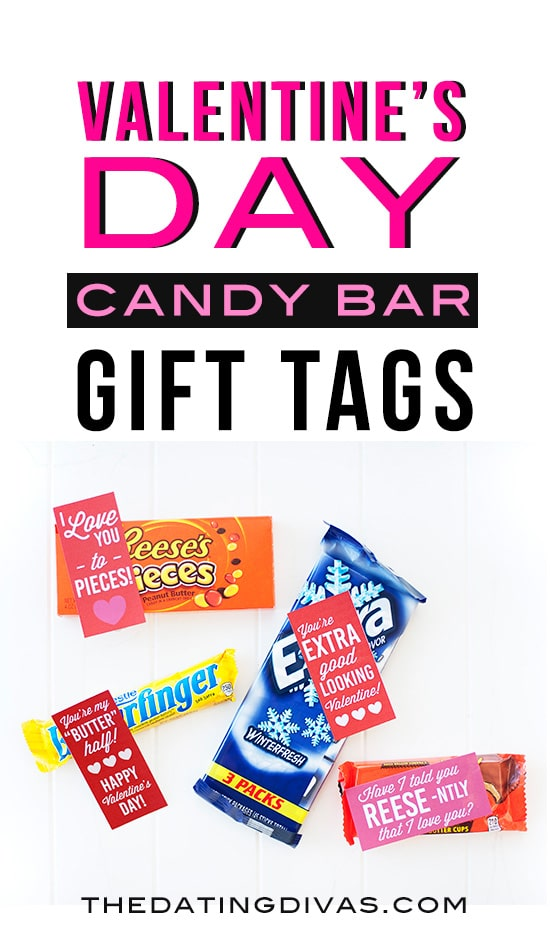 Valentine's Day Candy Bar Gift Tags! Free printables from The Dating Divas