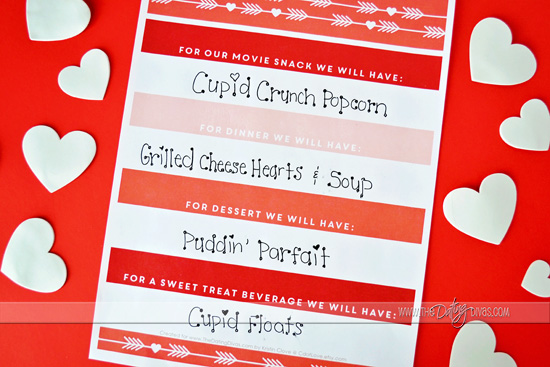 Valentine's Day Printable Menu