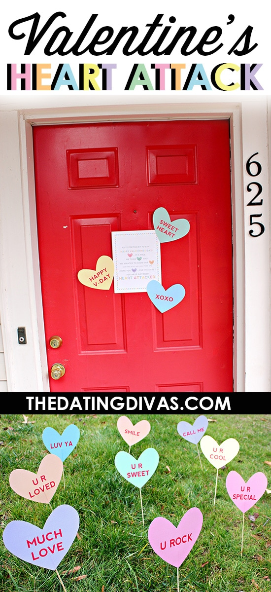Free Printable Valentine's  Heart Attack Lawn Signs - the poem on the door sign is pretty clever too!